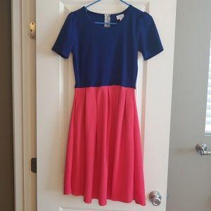 Pink & Blue LuLaRoe Dress